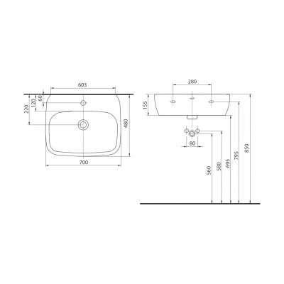 Wymiary techniczne umywalki Koło Style L21970-900-image_Koło_L21970900_2
