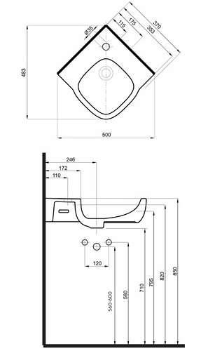 wymiary techniczne umywalki narożnej Koło Style -image_Koło_L21750900_2