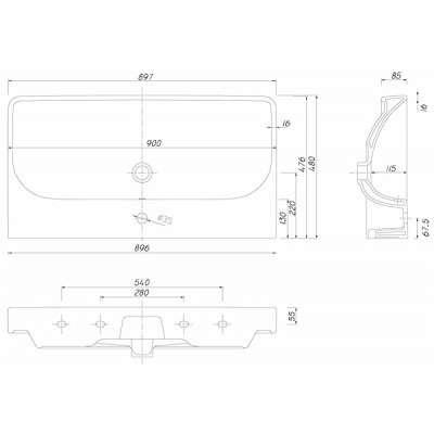 Rysunek techniczny umywalki Koło Traffic L91190900-image_Koło_L91190900_3