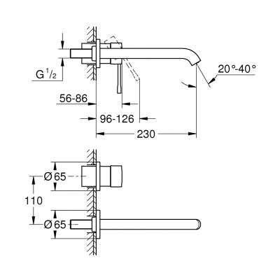 Rysunek techniczny elementów zewnętrznych baterii Essence-image_Grohe_1996700K_3