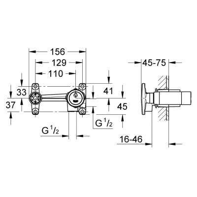 Rysunek techniczny elementu podtynkowego -image_Grohe_19408001K_3