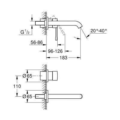 Rysunek techniczny elementów zewnętrznych baterii Essence-image_Grohe_19408001K_4