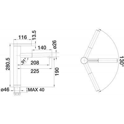 Wymiary baterii do kuchni Linee S w stali szlachetnej matowej -image_Blanco_517593_2