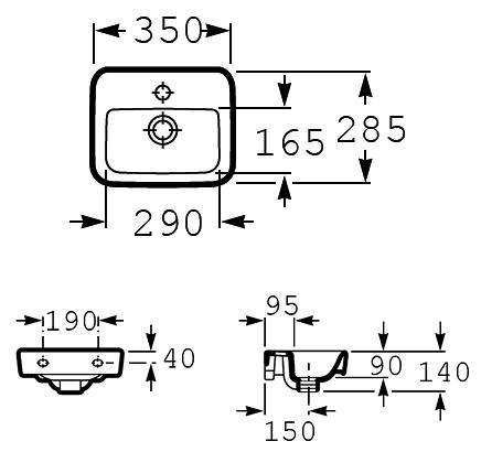 Wymiary techniczne umywalki małej Roca Sesno Square A32751D00M-image_Roca_A32751D00M_3