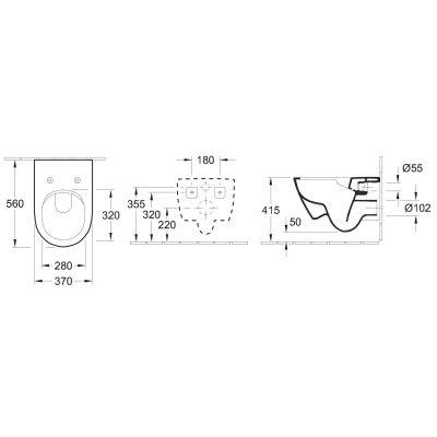 Wymiary techniczne długiej miski wiszącej Villeroy Boch Subway 2.0 bezrantowej -image_Villeroy & Boch_5614R001_2