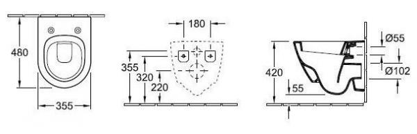 Wymiary techniczne miski ustępowej lejowej kompakt 56061001 -image_Villeroy & Boch_56061001_2