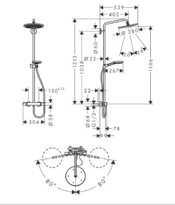 Wymiary techniczne czarnej kolumny prysznicowej z deszczownicą -image_Hansgrohe_26891670_2