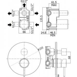 Wymiary podtynkowej 3 drożnej baterii wannowej Light Black czarny mat -image_Paffoni_LIG019NO_2