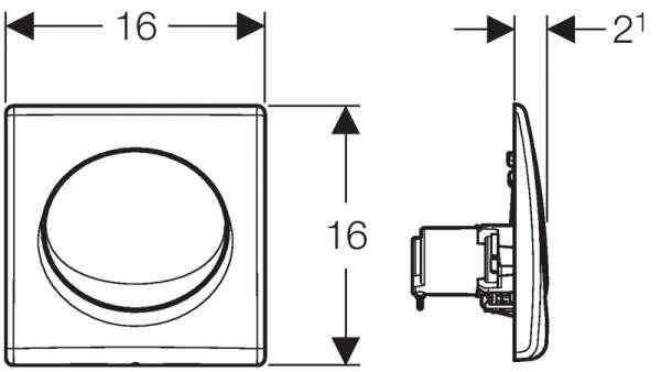 Rysunek techniczny przycisku spłukującego Geberit Samba-image_Geberit_115.820.11.5_2