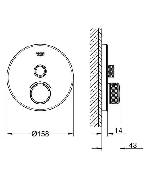 rysunek techniczny baterii natryskowej grohe smart control-image_Grohe_29150LS0_3