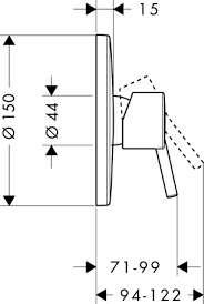Rysunek techniczny baterii  Hansgrohe Talis S2 32675000-image_Hansgrohe_32675000_3