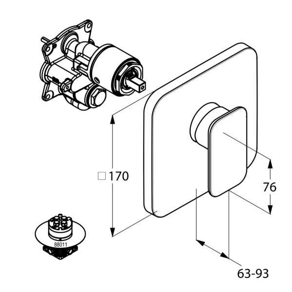 Wymiary techniczne podtynkowej baterii natryskowej Kludi E2 49 655 05 75-image_Kludi_496550575_3