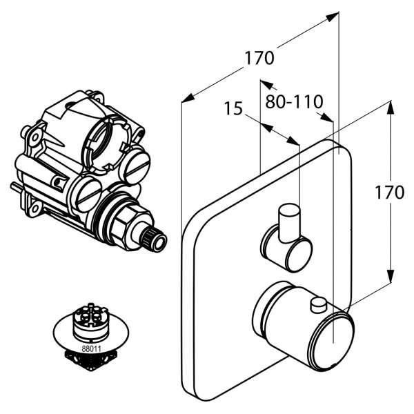 Wymiary techniczne baterii termostatycznej E2 498350575-image_Kludi_498350575_3