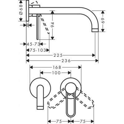 Rysunek techniczny baterii umywalkowej Axor Uno 38122000-image_Hansgrohe_38122000_2