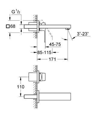 Wymiary techniczne podtynkowej baterii umywalkowej Grohe Eurocube 19895 000-image_Grohe_19895000_4