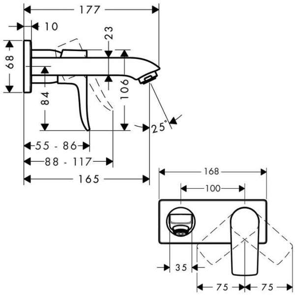 Wymiary techniczne podtynkowej baterii umywalkowej Hansgrohe Metris E2 31085000  -image_Hansgrohe_31085000_6