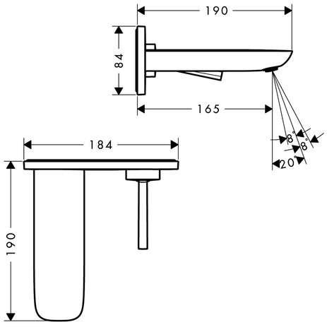 Wymiary techniczne baterii umywalkowej Hansgrohe PuraVida 15084400-image_Hansgrohe_15084400_3