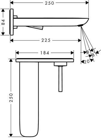 Wymiary techniczne baterii umywalkowej Hansgrohe PuraVida 15085400-image_Hansgrohe_15085400_3