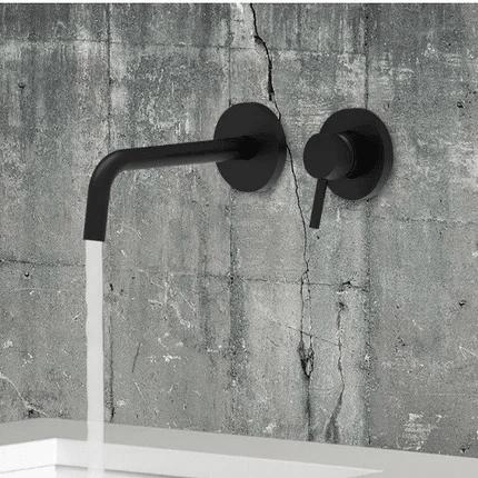 Aranżacja podtynkowej czarnej baterii do umywalki z długą wylewką Light Black -image_Paffoni_LIG007NO70_3