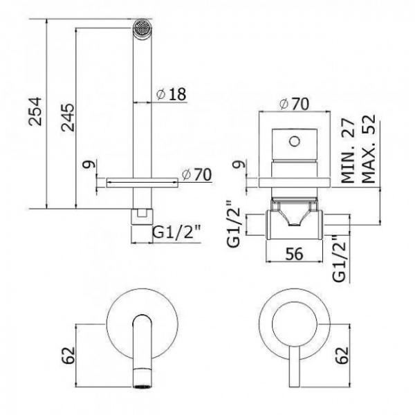 Wymiary techniczne podtynkowej czarnej baterii umywalkowej Paffoni Light Black -image_Paffoni_LIG007NO70_2