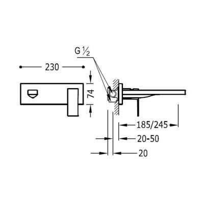 Wymiary techniczne podtynkowej baterii umywalkowej Tres Cuadro Black L-185-image_Tres baterie do kuchni i łazienki_006.200.03.NM_2