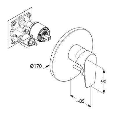 Wymiary techniczne baterii Pure&Solid-image_Kludi_346570575_2