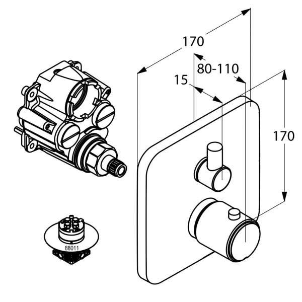 Wymiary techniczne baterii termostatycznej Kludi E2 498300575-image_Kludi_498300575_3