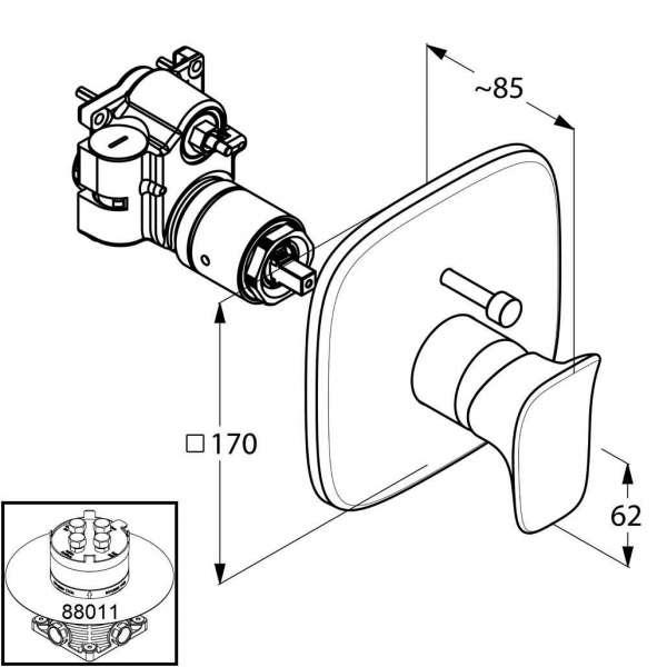 Wymiary podtynkowej baterii wannowej Kludi Ambienta 536570575-image_Kludi_536570575_3