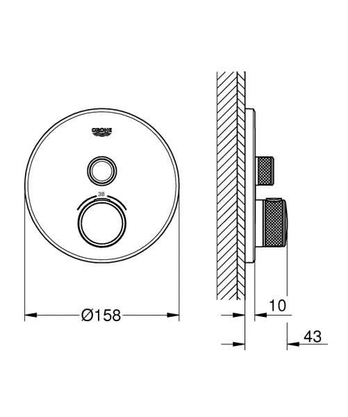 wymiary techniczne baterii termostatycznej grohe 29118000 -image_Grohe_29118000_3