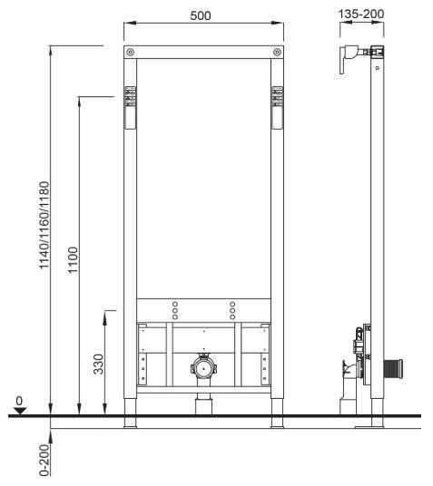 Wymiary techniczne stelaża bidetowego Schwab 8050452911-image_Hansa_45042203_1