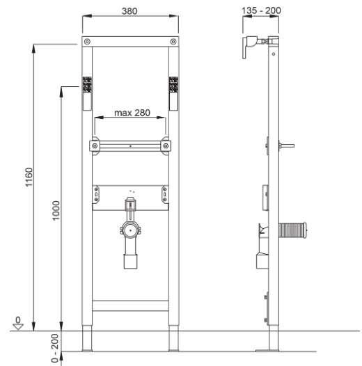 Wymiary techniczne umywalkowego stelaża Schwab Duplo 380 WT 8050452721-image_Schwab_8050452721_2