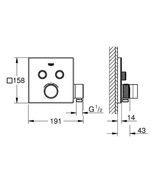 Grohe smartcontrol rysunek techniczny z wymiarami termostatu 29 125 000.-image_Grohe_29125000_3