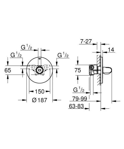Wymiary techniczne podtynkowej baterii termostatycznej Grohe Grohtherm 1000 34573000-image_Grohe_34573000_4