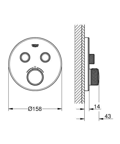 Grohe grotherm smartcontrol rysunek techniczny podtynkowego termostatu do 2 odbiorników.-image_Grohe_29151LS0_4