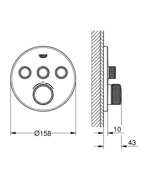 Wymiary techniczne elementu zewnętrznego Grohe Grohtherm Smartcontrol 29121000-image_Grohe_29121000_3