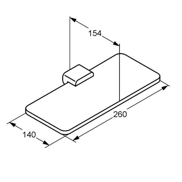 Rysunek techniczny półki szklanej Kludi E2 4998705-image_Kludi_4998705_3