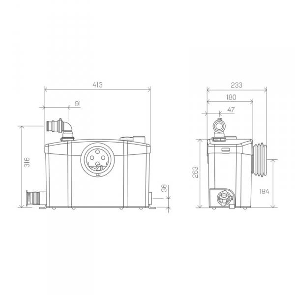 Wymiary techniczne pompy SFA Sanipro-image_SFA_SFA SANIPRO XR_3