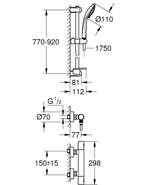 Wymiary techniczne baterii prysznicowej Grohtherm 34321002-image_Grohe_34321002_4
