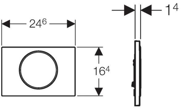 Wymiary techniczne przycisku spłukującego Geberit Sigma 10 115.758.KK.5-image_Geberit_115.758.KK.5_4