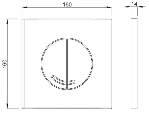 Wymiary techniczne przycisku do wc Schwab Veria 4060414551 -image_Roca_A5A1160C00_1