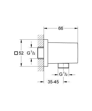 Wymiary techniczne przyłącza kątowego Grohe Euphoria Cube 27704000-image_Grohe_27704000_4