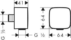 Wymiary techniczne przyłącza kontowego z zaworem zwrotnym Hansgrohe FixFit 26457000-image_Hansgrohe_26457000_3