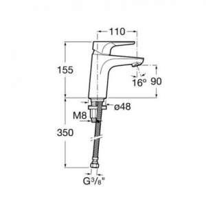 Wymiary techniczne baterii umywalkowej Roca Atlas-image_Roca_A5A3290C00_2