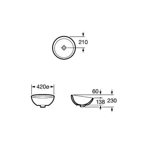 Rysunek techniczny umywalki Roca Bol A327876000-image_Roca_A327876000_4