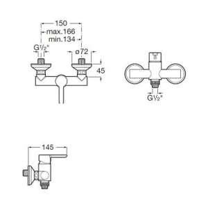 Rysunek techniczny baterii prysznicowej-image_Roca_A5A218AC0K_2