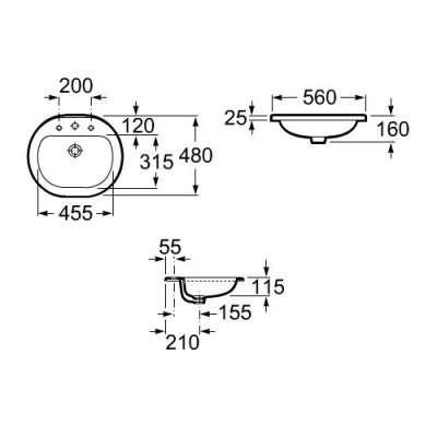 Wymiary techniczne umywalki blatowej Roca Coral 327898000-image_Roca_A327898000_4