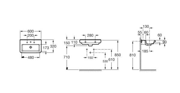 Rysunek techniczny umywalki Roca Dama-N compacto A327785000-image_Roca_A327785000_3
