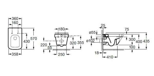 Rysunek techniczny miski Roca Dama-N A346787000-image_Roca_A346787000_3
