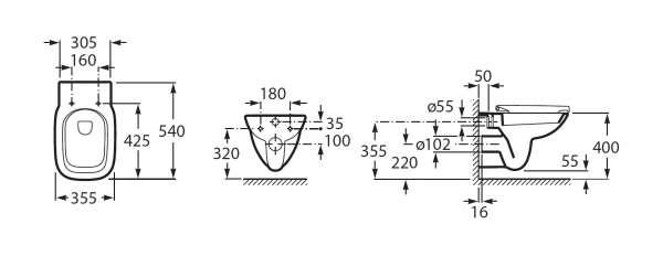 Wymiary techniczne miski wiszącej Debba A34699L000-image_Roca_A34699L000_4