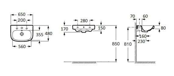 wymiary techniczne umywalki Debba A325993000-image_Roca_A325993000_4